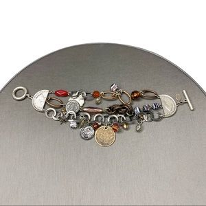 EXPRESS Silver Coin & Charm Toggle Bracelet Boho